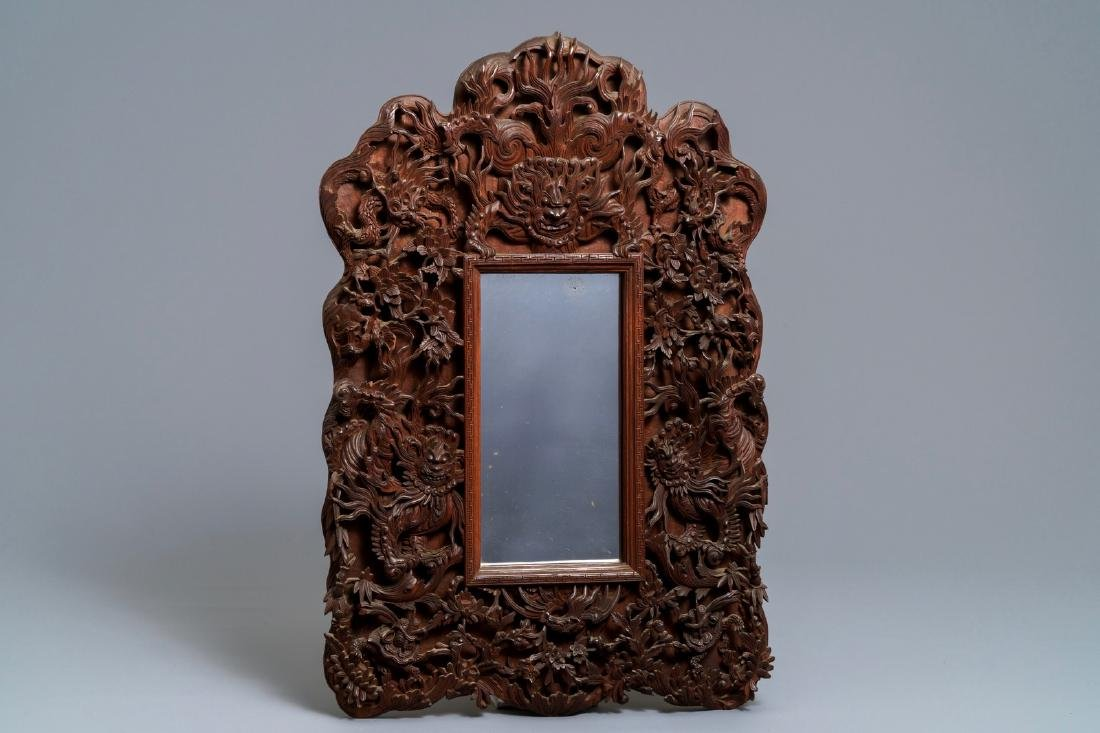 Two Chinese carved wood frames with dragons and - 2