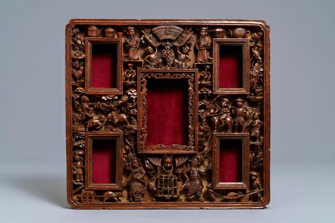 Two Chinese carved wood frames with dragons and - 4