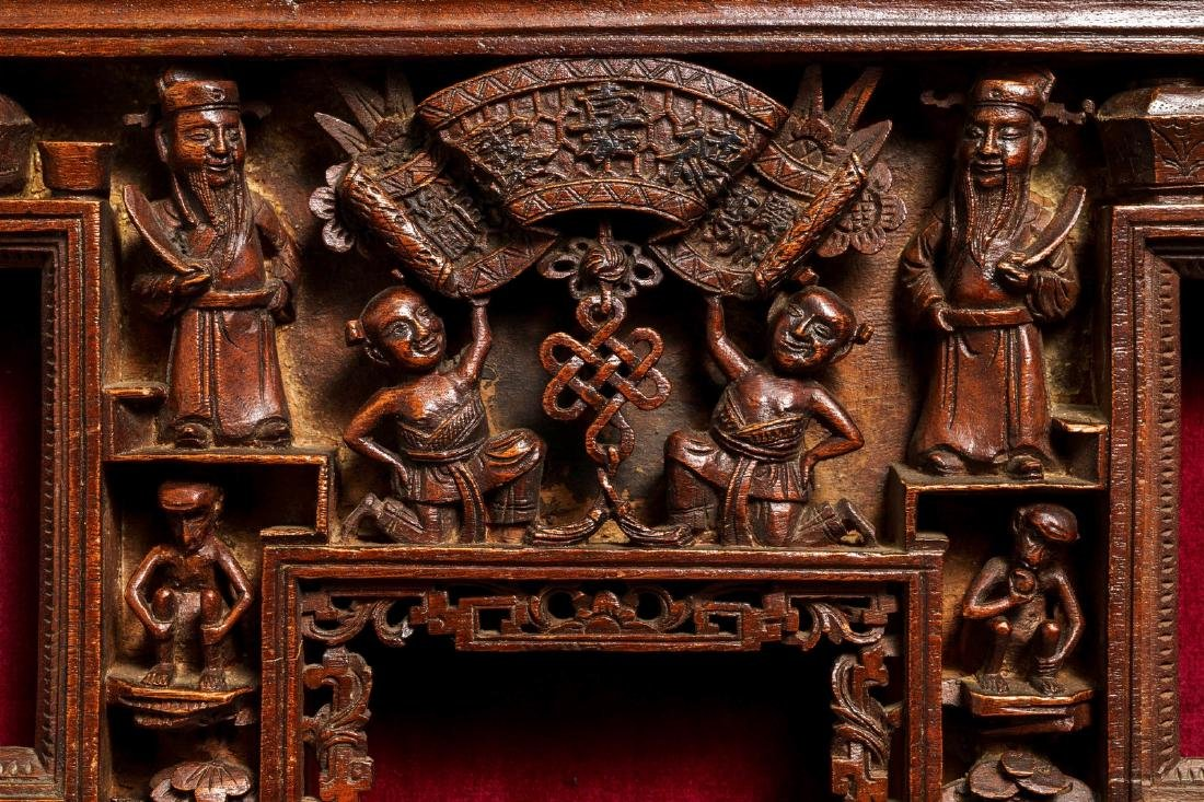 Two Chinese carved wood frames with dragons and - 5