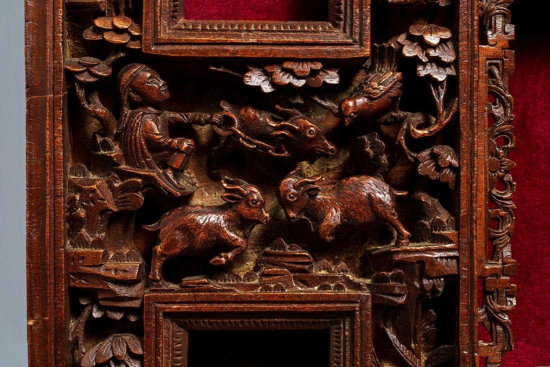 Two Chinese carved wood frames with dragons and - 6