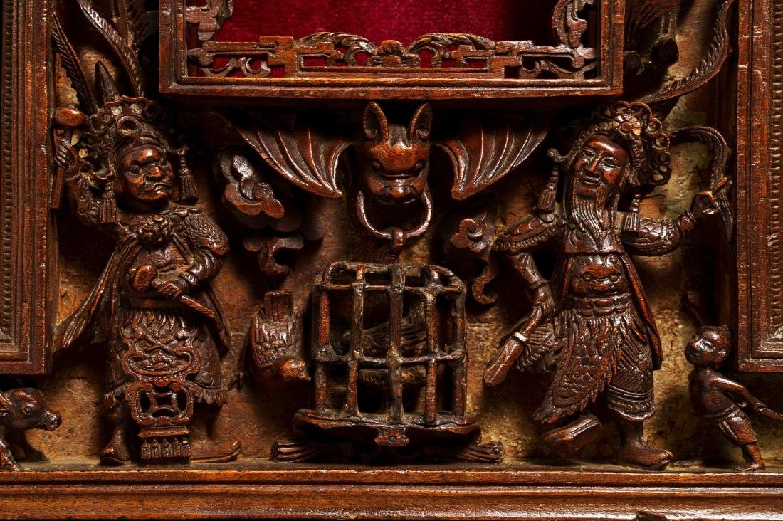 Two Chinese carved wood frames with dragons and - 7