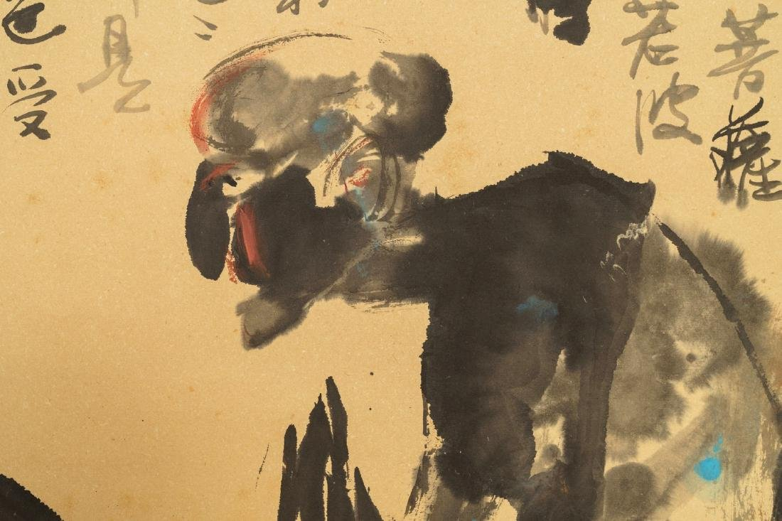Chinese school, 20th C.: Two figures and calligraphy, - 5
