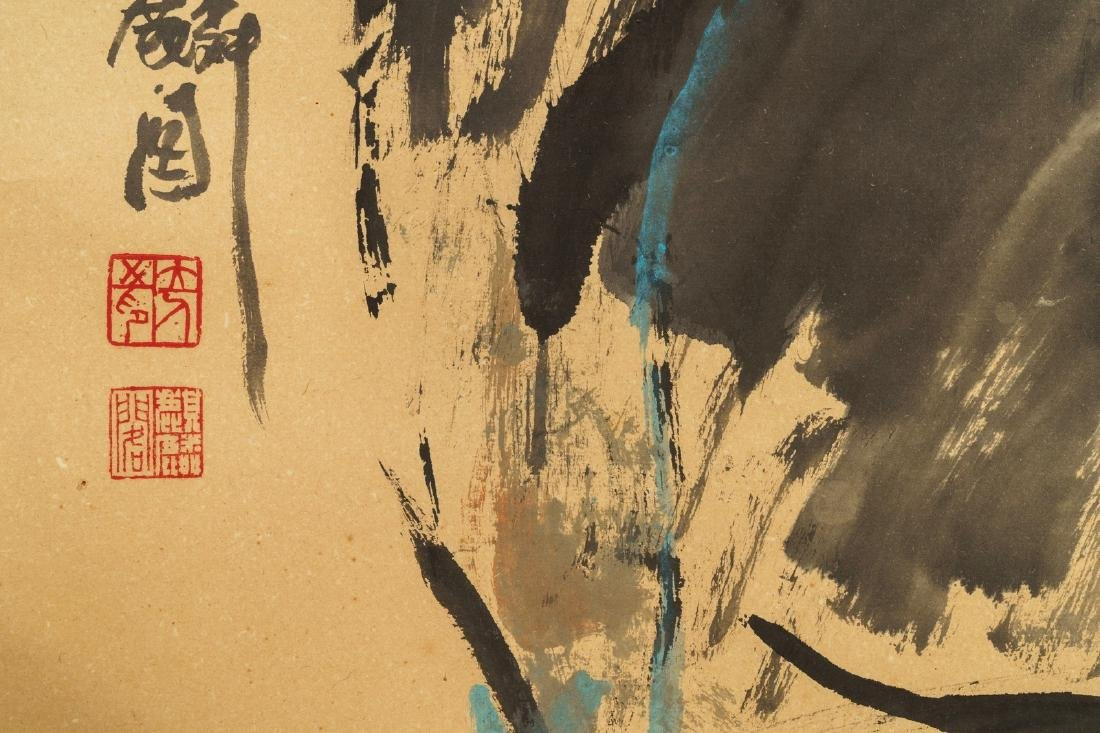 Chinese school, 20th C.: Two figures and calligraphy, - 7