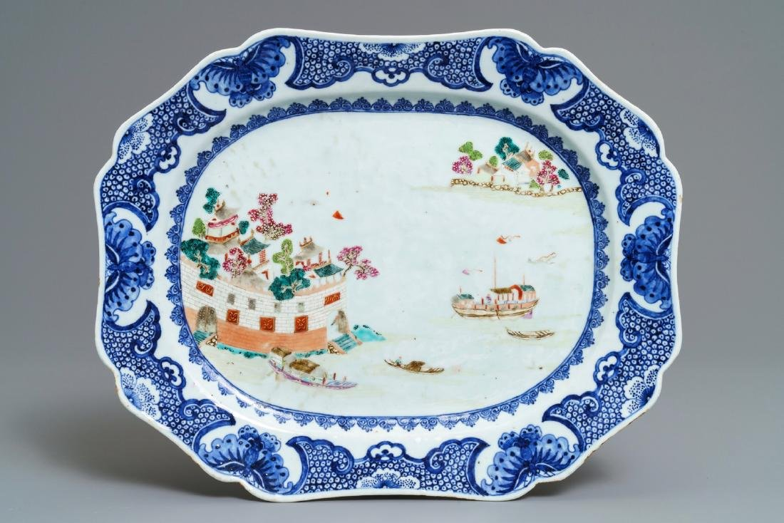 An octagonal Chinese famille rose 'Fort Folly' dish,