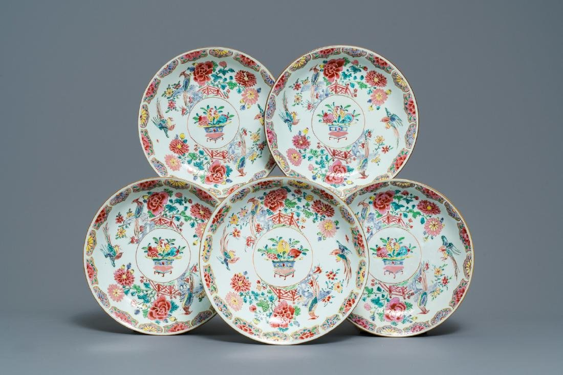 Five Chinese famille rose dishes with flowers and