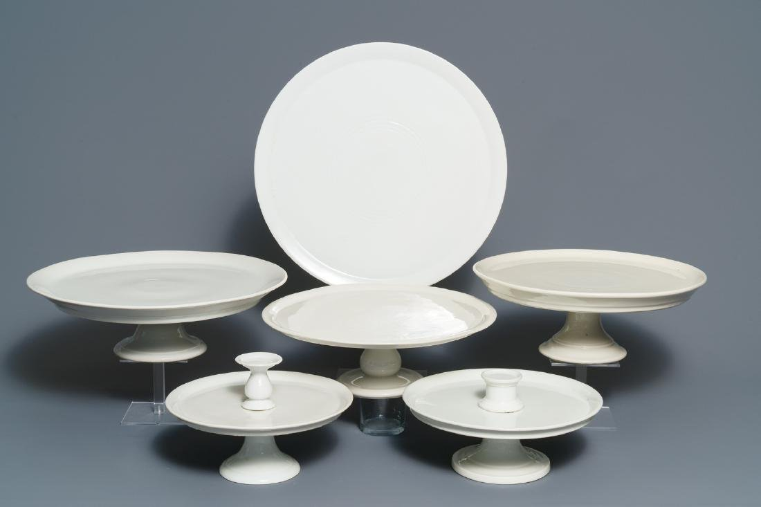 Six large monochrome white French porcelain tazza, 19th