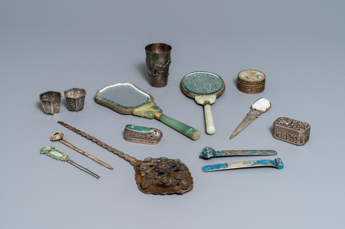 A varied collection of Chinese silver, some with jade