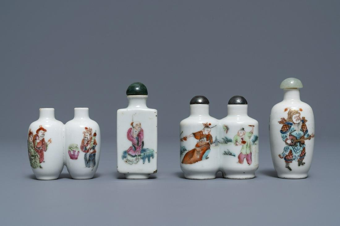 Four Chinese famille rose porcelain snuff bottles, 19th