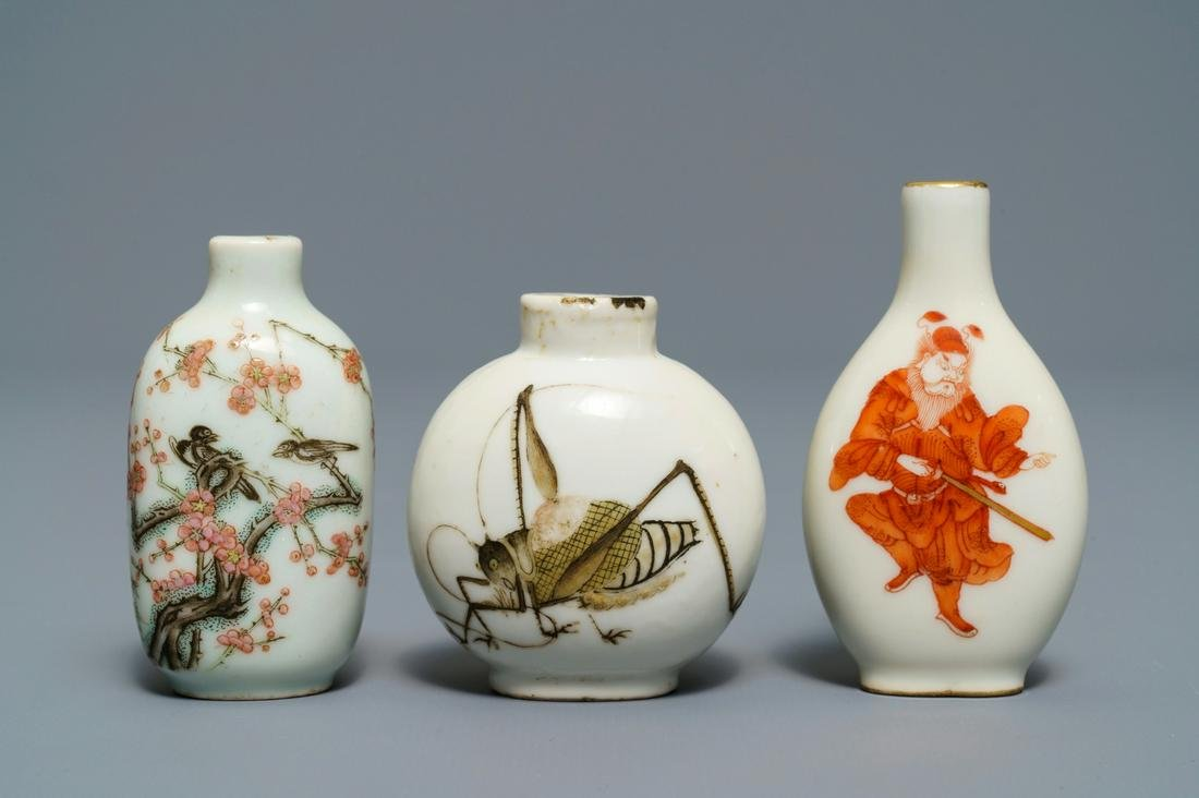 Three Chinese famille rose and iron-red porcelain snuff