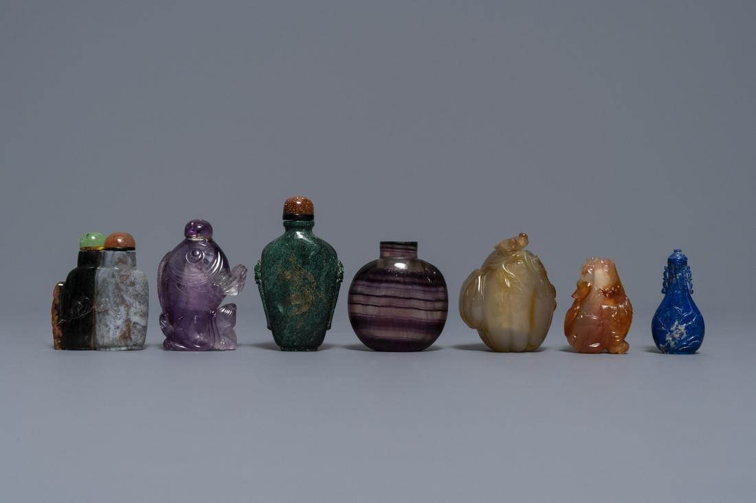 Seven Chinese hardstone, agate and quartz snuff