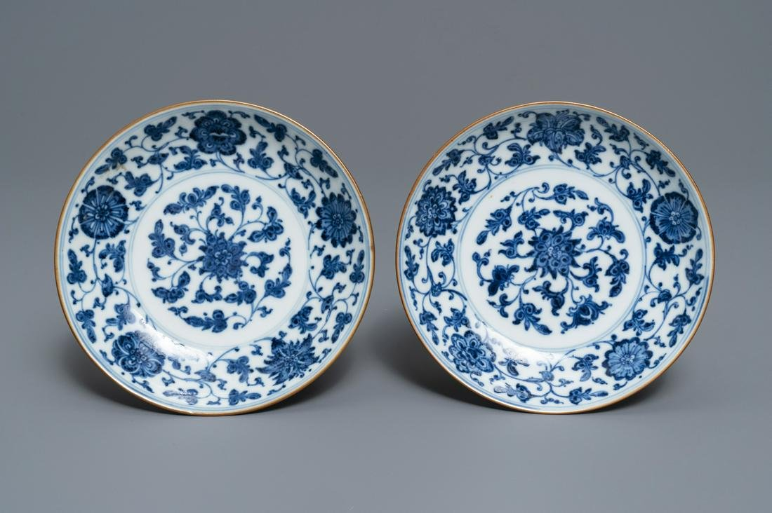 A pair of Chinese blue and white 'flower scroll'