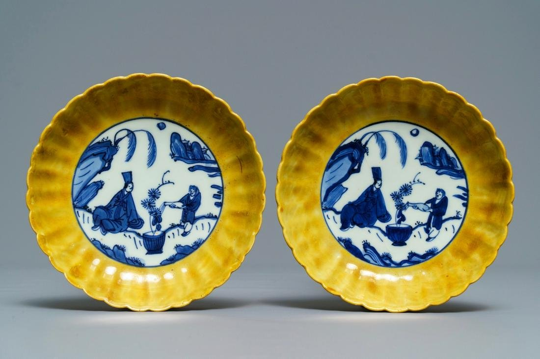 A pair of lobed Chinese blue and white yellow edge