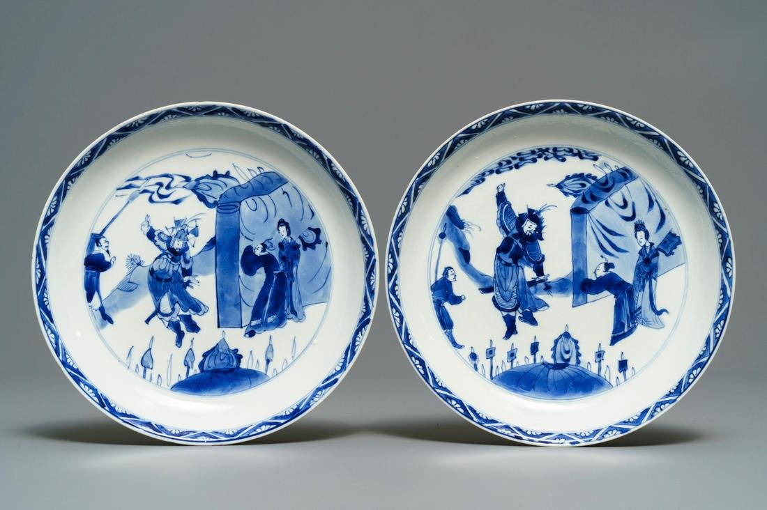 A pair of Chinese blue and white plates, Chenghua mark,