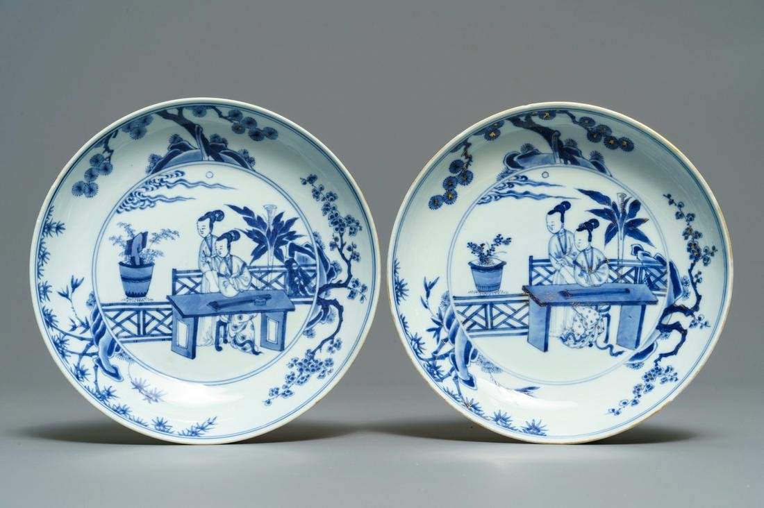 A pair of Chinese blue and white 'Cao sisters' plates,