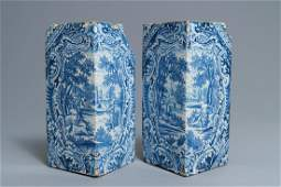 A pair of blue and white mythological subject corner