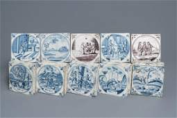 A collection of 54 biblical Dutch Delft blue and white