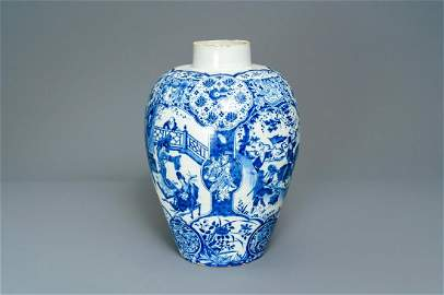 A Dutch Delft blue and white chinoiserie vase, 17/18th