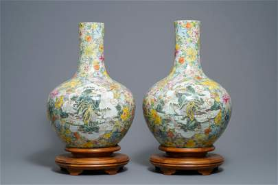 NO ONLINE BIDDING A pair of Chinese famille rose vases