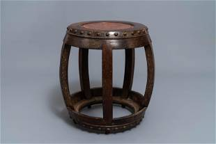 A Chinese carved hardwood stand with rootwood top, 19th