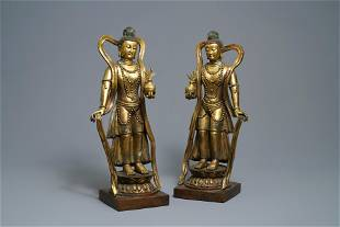 A pair of large Chinese gilt bronze figures 19th C