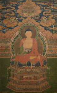 (NO ONLINE BIDDING) Buddha, dated 1454, silk painting