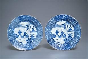 A pair of Chinese blue and white Romance of the