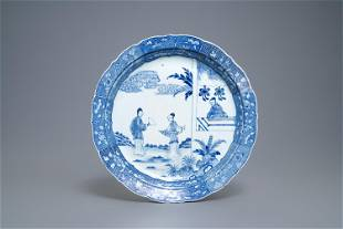 A large Chinese blue and white Romance of the Western