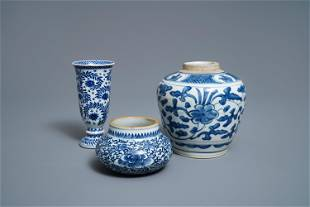 Two Chinese blue and white jars and a beaker