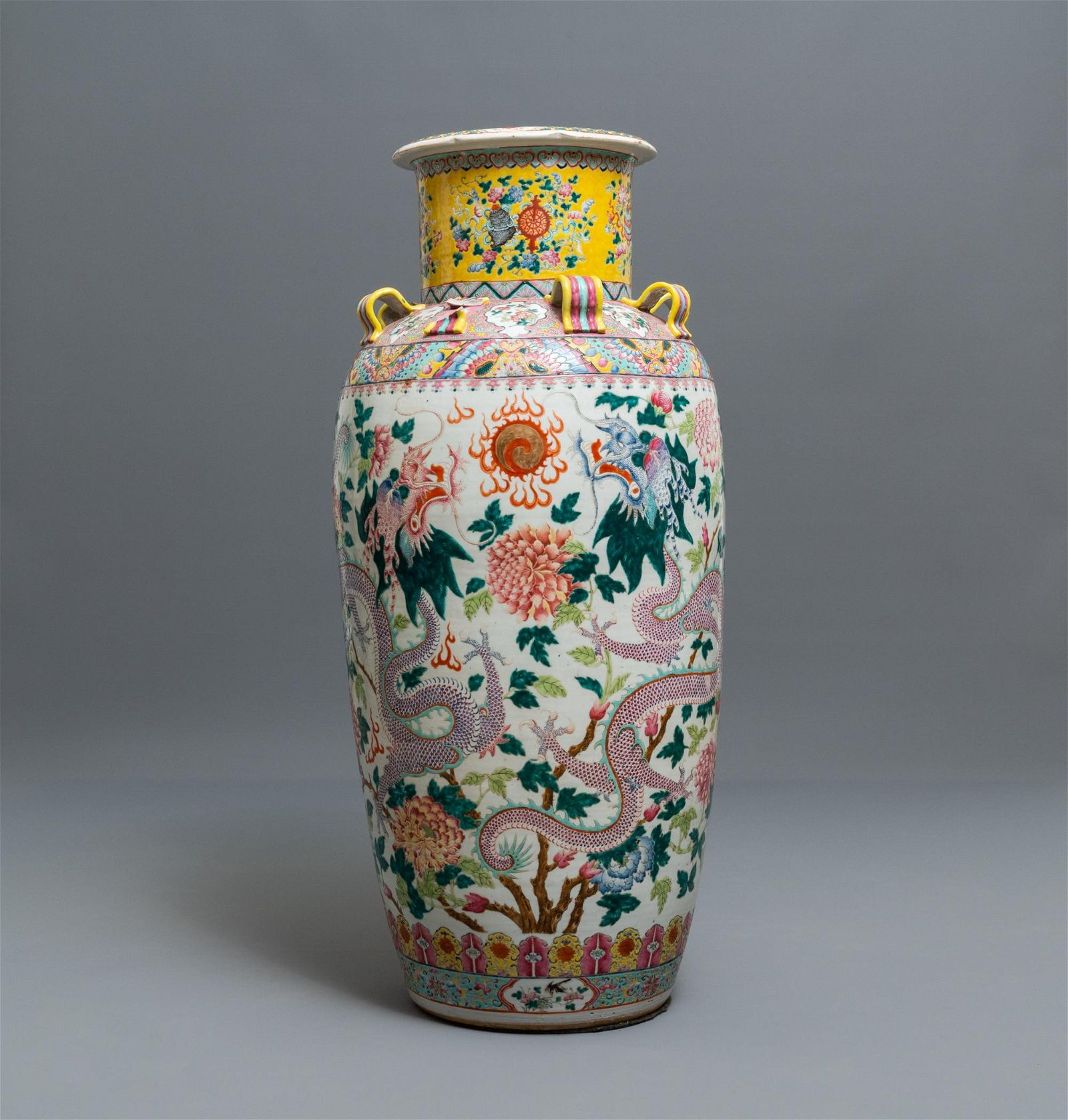 A large Chinese famille rose 'dragon and phoenix' vase