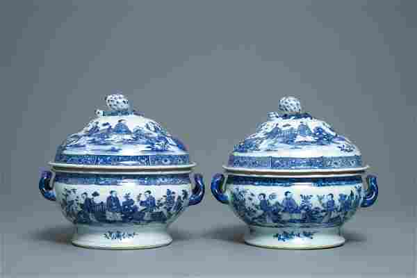 A pair of Chinese blue and white tureens with ladies in