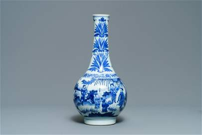 A Chinese blue and white bottle vase, Transitional