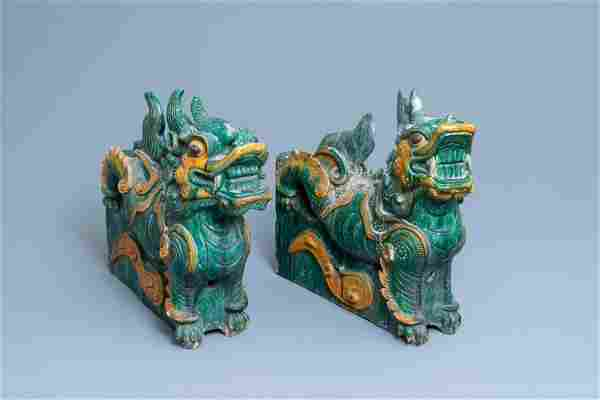 A pair of large Chinese sancai-glazed dragon roof