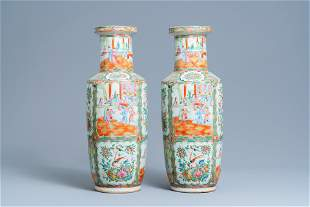 A pair of Chinese Canton famille rose rouleau vases,