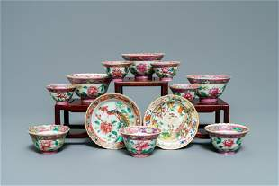 Ten Chinese famille rose bowls and two saucers for the