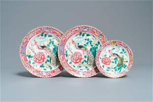 Three Chinese famille rose plates for the Straits or