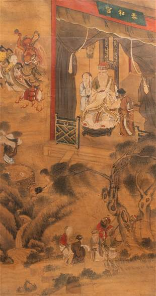 Chinese school, ink and colour on paper, 19th C.: 'The