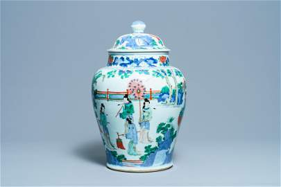 A large Chinese wucai vase and cover, Transitional