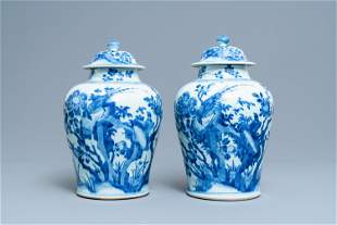 A pair of Chinese blue and white baluster vases and
