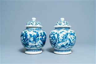 A pair of Chinese blue and white 'hunting scene' jars