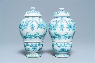A pair of rare Chinese export porcelain urns and