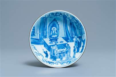 A fine Chinese blue and white Xi Xiang Ji 'temple