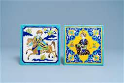 Two Qajar cuerda seca Safavidstyle tiles Iran 19th