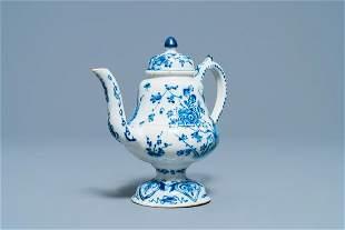 A rare Dutch Delft blue and white 'cadogan' ewer, 1st