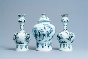 A Dutch Delft blue and white chinoiserie garniture of
