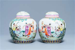 A pair of Chinese famille rose covered jars, Qianlong