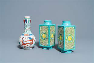 A pair of Chinese 'cong' vases and a wucai 'dragon'