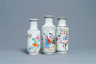 Three Chinese famille rose rouleau vases, Qianlong