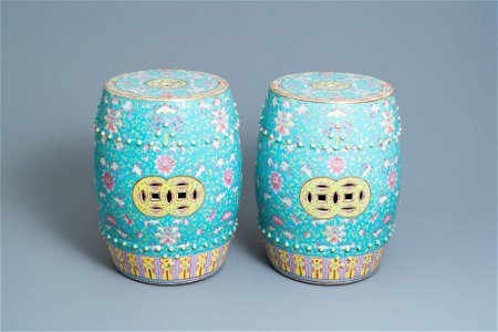 A pair of Chinese turquoise-ground famille rose garden