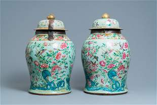 A pair of large Chinese Canton famille rose