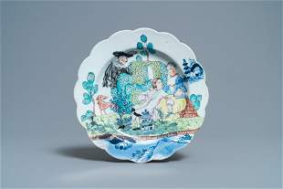 A Dutch-decorated Chinese blue and white plate with a